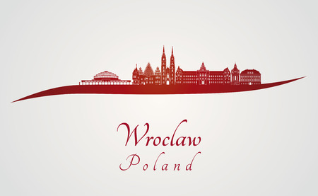 wroclaw: Wroclaw skyline in red and gray background in editable vector file Illustration