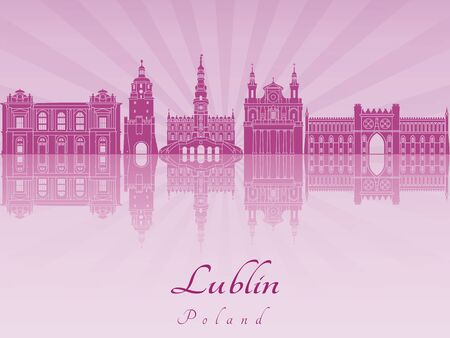 radiant: Lublin skyline in purple radiant orchid in editable vector file