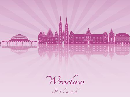 Wroclaw skyline in purple radiant orchid in editable vector file
