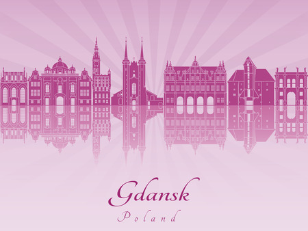 gdansk: Gdansk skyline in purple radiant orchid in editable vector file
