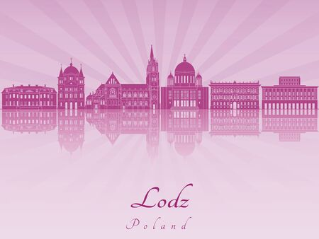 radiant: Lodz skyline in purple radiant orchid in editable vector file