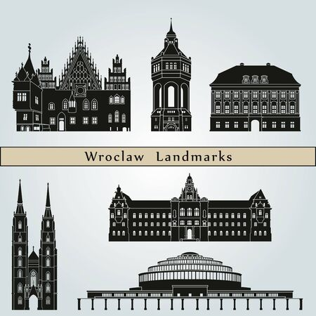monuments: Wroclaw landmarks and monuments isolated on blue background in editable vector file Illustration