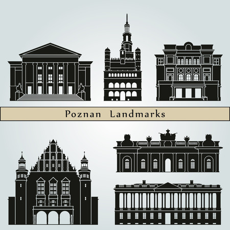 city buildings: Poznan landmarks and monuments isolated on blue background in editable vector file