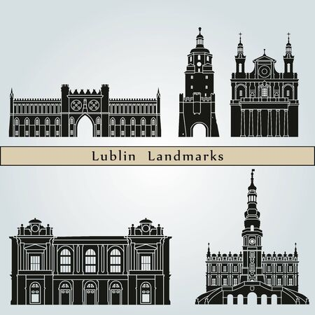 monuments: Lublin landmarks and monuments isolated on blue background in editable vector file
