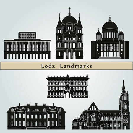 monuments: Lodz landmarks and monuments isolated on blue background in editable vector file