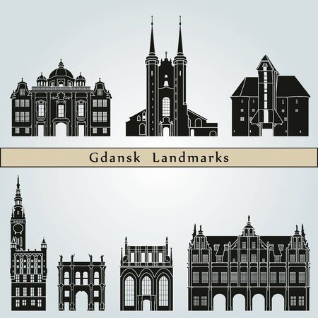gdansk: Gdansk landmarks and monuments isolated on blue background in editable vector file Illustration