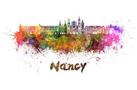 Nancy skyline in watercolor splatters with clipping path Stock Photo