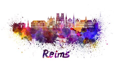 Reims skyline in watercolor splatters with clipping path