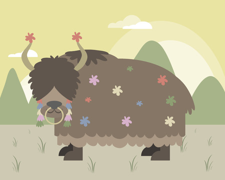 yak: Yak in mountains in editable vector file