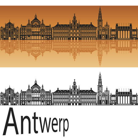 horizon reflection: Antwerp skyline in orange background in editable vector file