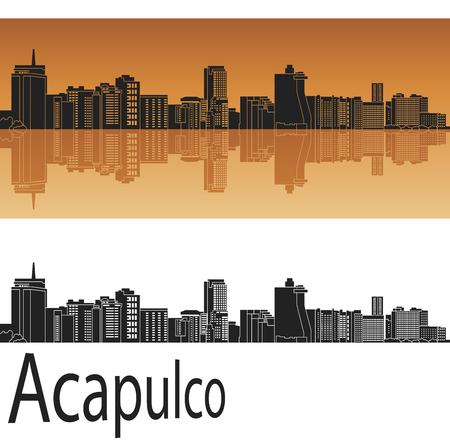 mexico city: Acapulco skyline in orange background in editable vector file
