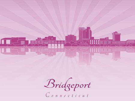 radiant: Bridgeport skyline in purple radiant orchid in editable vector file