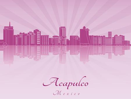 Acapulco skyline in purple radiant orchid in editable vector file Çizim
