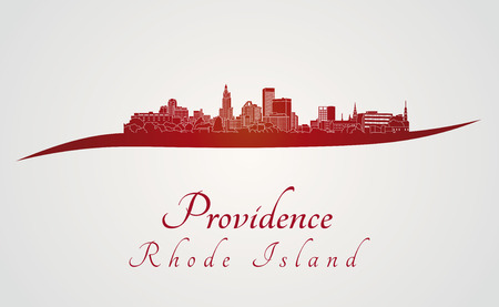 providence: Providence skyline in red and gray background in editable vector file Illustration
