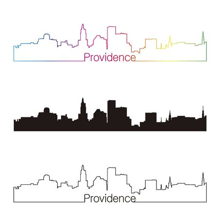 Providence skyline linear style with rainbow in editable vector file
