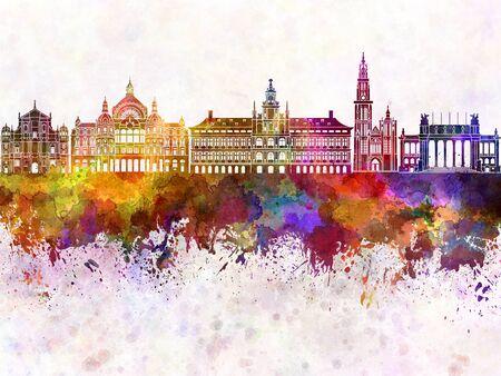 antwerp: Antwerp skyline in watercolor background