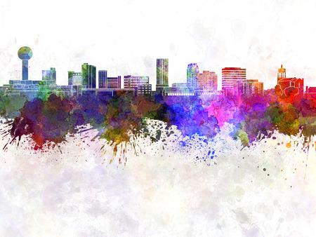 水彩画背景でノックスビル スカイライン 写真素材