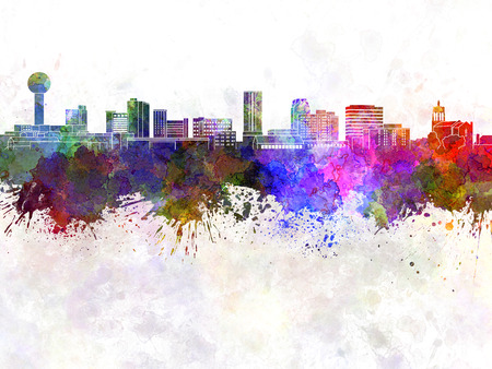 abstract color: Knoxville skyline in watercolor background Stock Photo