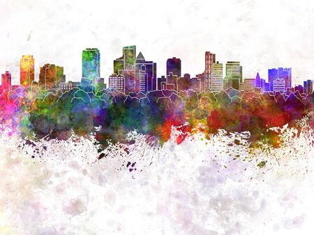 Fort Lauderdale FL skyline in watercolor background Stock Photo