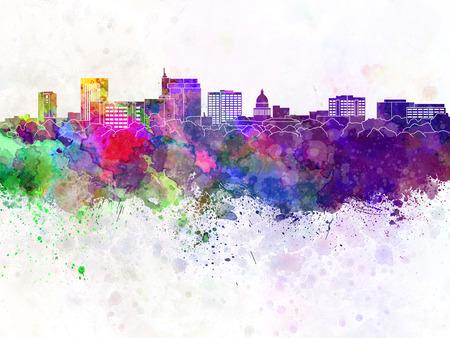 Boise skyline in watercolor background 版權商用圖片