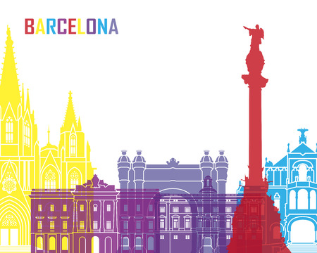 Barcelona skyline pop in editable vector file
