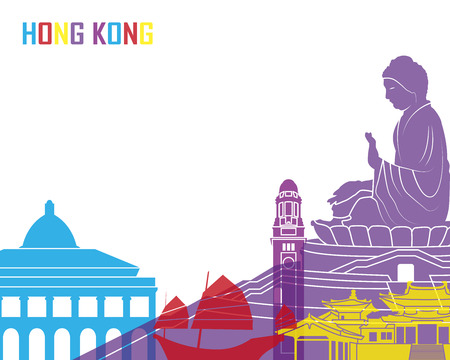 hong kong skyline: Hong Kong skyline pop in editable vector file Illustration