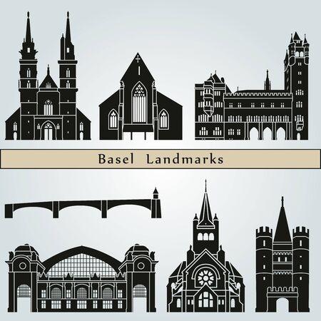 monuments: Basel landmarks and monuments isolated on blue background