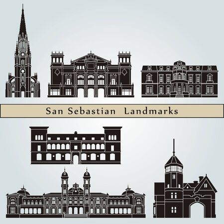 san sebastian: San Sebastian landmarks and monuments isolated on blue background