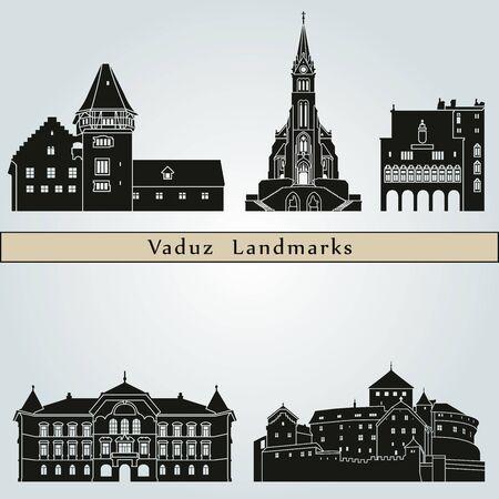 monuments: Vaduz landmarks and monuments isolated on blue background