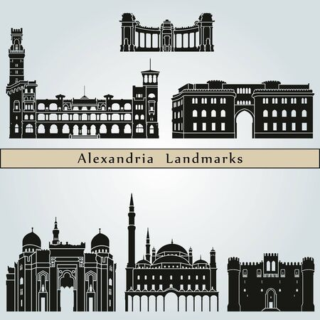 alexandria egypt: Alexandria landmarks and monuments isolated on blue background Illustration