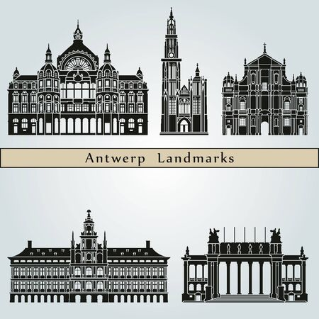 monuments: Antwerp landmarks and monuments isolated on blue background