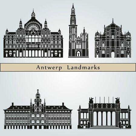 monumento: Lugares y monumentos Amberes aislados sobre fondo azul