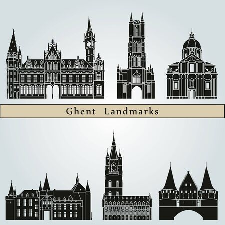 monuments: Ghent landmarks and monuments isolated on blue background Illustration