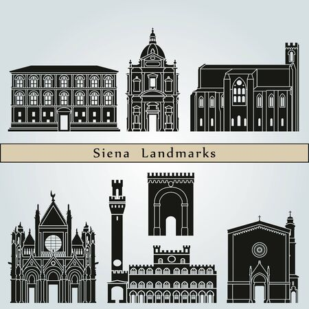 siena italy: Siena landmarks and monuments isolated on blue background Illustration
