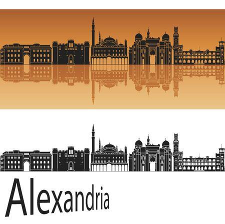 alexandria egypt: Alexandria skyline in orange background