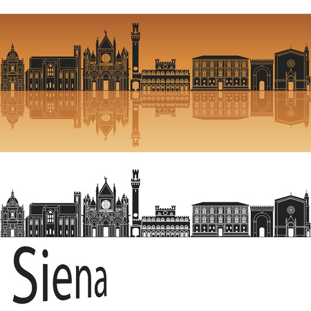 siena italy: Siena skyline in orange background