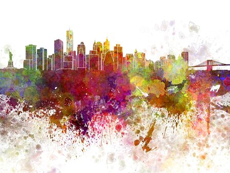 New York skyline  in watercolor background Stock Photo