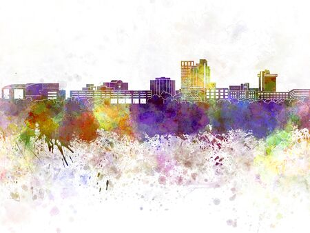 united states: United States skyline in watercolor background Stock Photo
