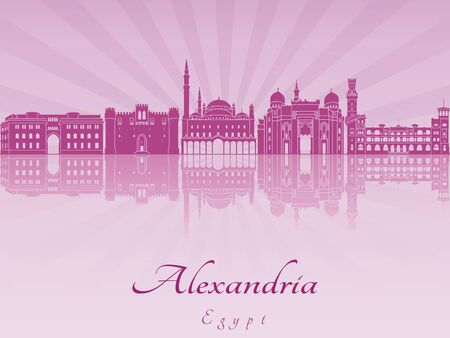 alexandria egypt: Alexandria skyline in purple radiant orchid
