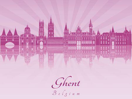 radiant: Ghent skyline in purple radiant orchid Illustration