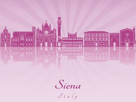 siena italy: Siena skyline in purple radiant orchid