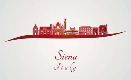 siena italy: Siena skyline in red and gray background