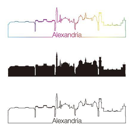 alexandria egypt: Alexandria skyline linear style with rainbow