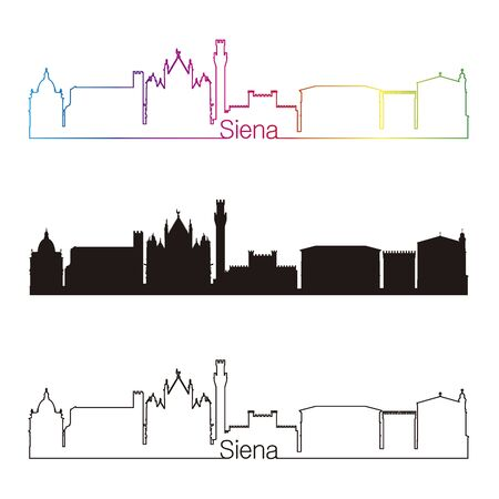 siena italy: Siena skyline linear style with rainbow