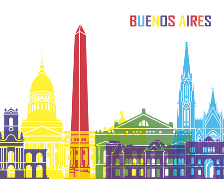 buenos aires: Buenos Aires skyline pop  Illustration