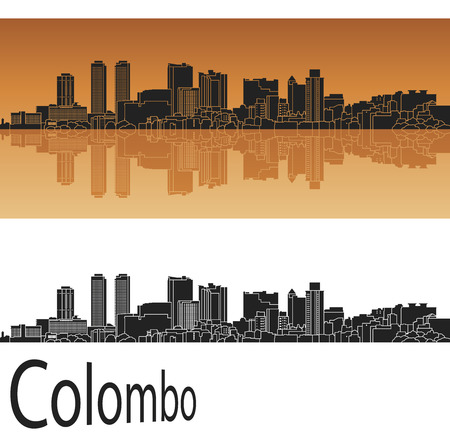colombo: Colombo skyline in orange background Illustration