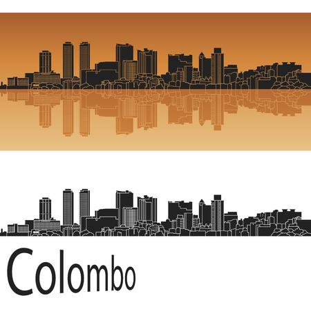 colombo: Colombo skyline in orange background Illustration