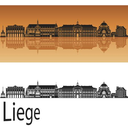 liege: Liege skyline in orange background  Illustration