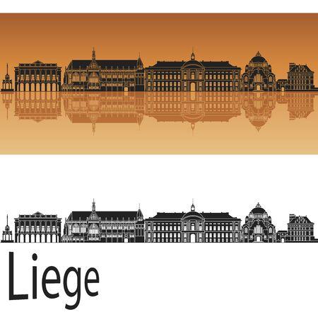 liege: Liege skyline in orange background  Illustration