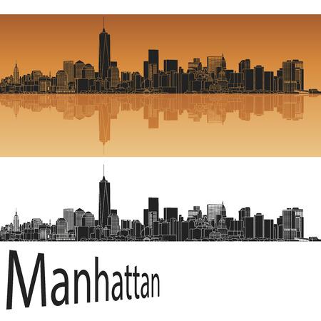 オレンジ色の背景でマンハッタンのスカイライン